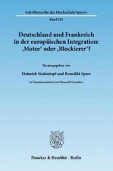 eBook Deutschland und Frankreich in der europäischen Integration: 'Motor' oder 'Blockierer'? / L'Allemagne et la France dans l'intégration européenne: 'moteur' ou 'frein'? Cover