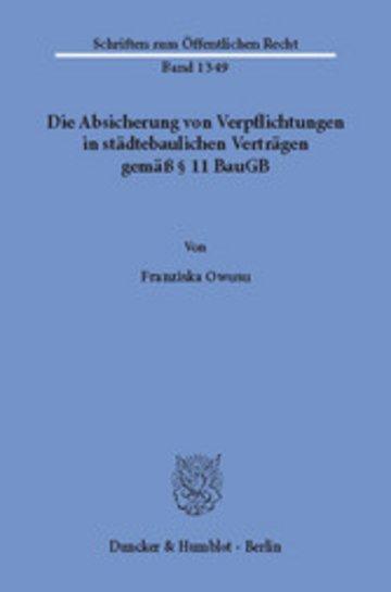 eBook Die Absicherung von Verpflichtungen in städtebaulichen Verträgen gemäß § 11 BauGB. Cover
