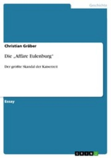 eBook Die 'Affäre Eulenburg' Cover