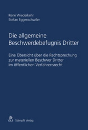 eBook Die allgemeine Beschwerdebefugnis Dritter Cover
