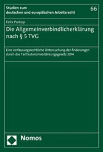 eBook Die Allgemeinverbindlicherklärung nach § 5 TVG Cover
