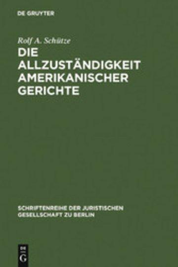eBook Die Allzuständigkeit amerikanischer Gerichte Cover