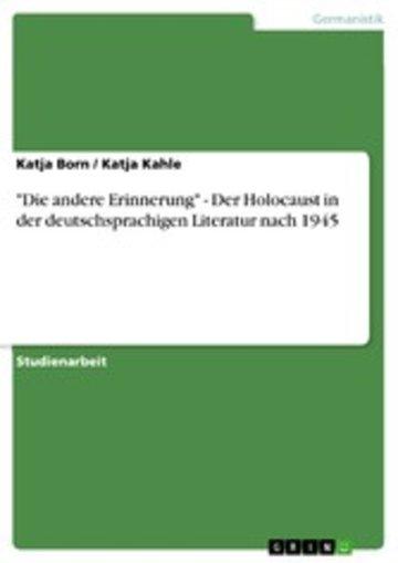 eBook 'Die andere Erinnerung' - Der Holocaust in der deutschsprachigen Literatur nach 1945 Cover