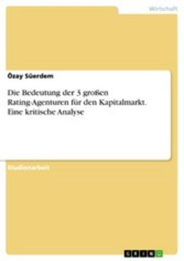 eBook Die Bedeutung der 3 großen Rating-Agenturen für den Kapitalmarkt. Eine kritische Analyse Cover
