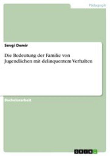 eBook Die Bedeutung der Familie von Jugendlichen mit delinquentem Verhalten Cover