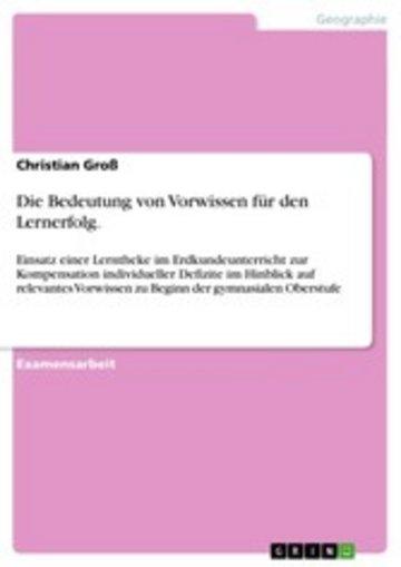 eBook Die Bedeutung von Vorwissen für den Lernerfolg. Cover
