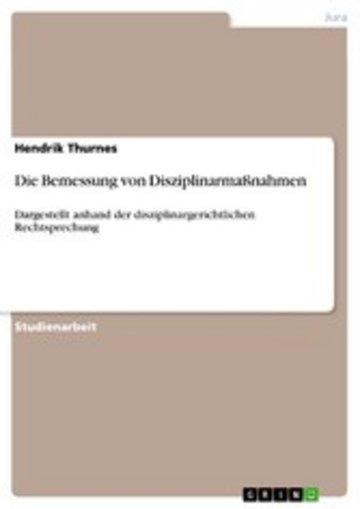 eBook Die Bemessung von Disziplinarmaßnahmen Cover