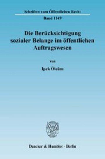 eBook Die Berücksichtigung sozialer Belange im öffentlichen Auftragswesen. Cover