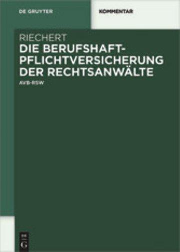 eBook Die Berufshaftpflichtversicherung der Rechtsanwälte Cover