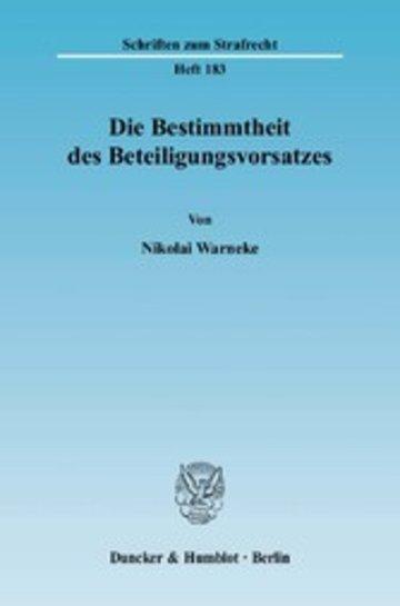 eBook Die Bestimmtheit des Beteiligungsvorsatzes. Cover