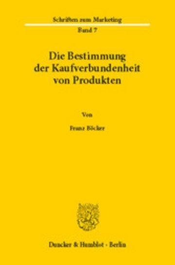 eBook Die Bestimmung der Kaufverbundenheit von Produkten. Cover