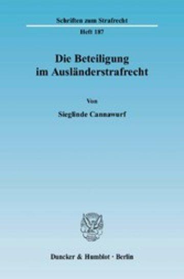 eBook Die Beteiligung im Ausländerstrafrecht. Cover