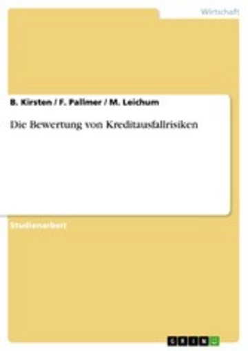 eBook Die Bewertung von Kreditausfallrisiken Cover