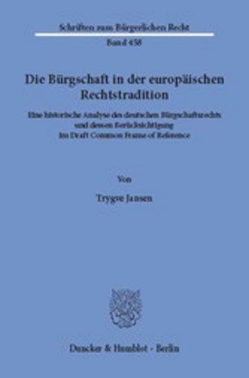 eBook Die Bürgschaft in der europäischen Rechtstradition. Cover