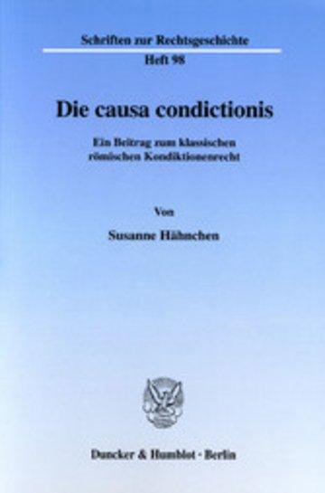 eBook Die causa condictionis. Cover