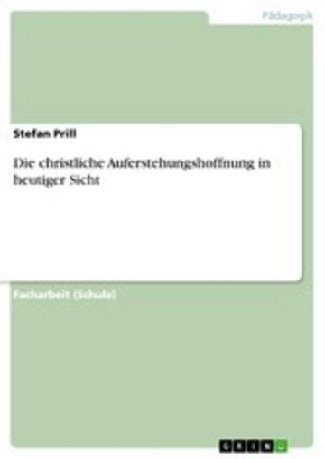 eBook Die christliche Auferstehungshoffnung in heutiger Sicht Cover