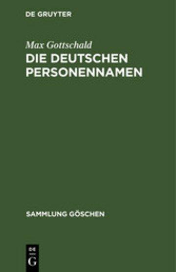 eBook Die Deutschen Personennamen Cover