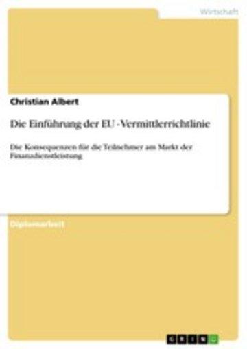 eBook Die Einführung der EU - Vermittlerrichtlinie Cover