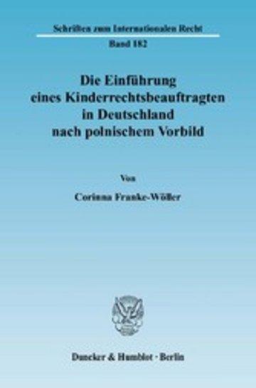 eBook Die Einführung eines Kinderrechtsbeauftragten in Deutschland nach polnischem Vorbild. Cover