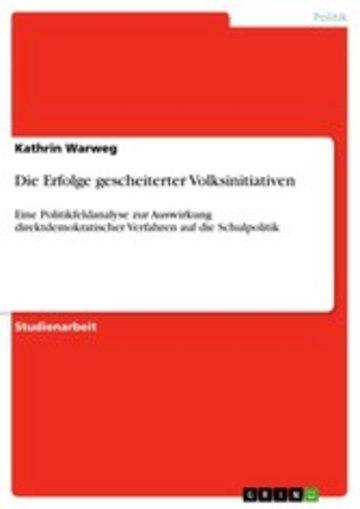 eBook Die Erfolge gescheiterter Volksinitiativen Cover