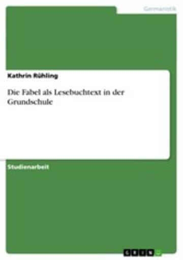 eBook Die Fabel als Lesebuchtext in der Grundschule Cover