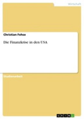 eBook Die Finanzkrise in den USA Cover