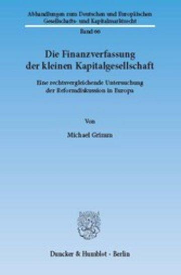 eBook Die Finanzverfassung der kleinen Kapitalgesellschaft. Cover