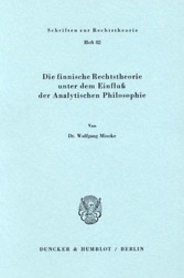 eBook Die finnische Rechtstheorie unter dem Einfluß der Analytischen Philosophie. Cover