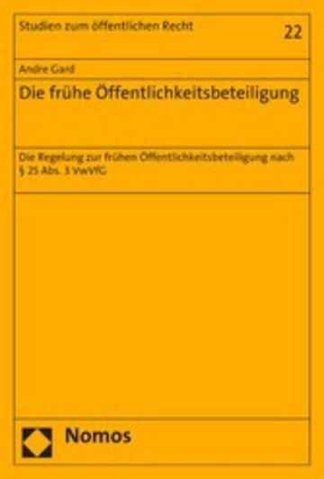 eBook Die frühe Öffentlichkeitsbeteiligung Cover