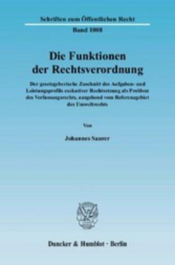 eBook Die Funktionen der Rechtsverordnung. Cover