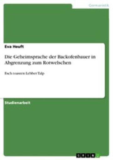 eBook Die Geheimsprache der Backofenbauer in Abgrenzung zum Rotwelschen Cover