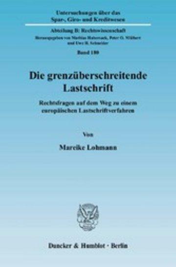 eBook Die grenzüberschreitende Lastschrift. Cover