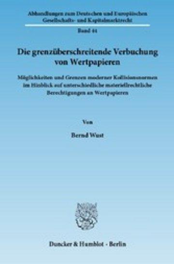 eBook Die grenzüberschreitende Verbuchung von Wertpapieren. Cover