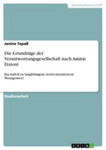 eBook Die Grundzüge der Verantwortungsgesellschaft nach Amitai Etzioni Cover