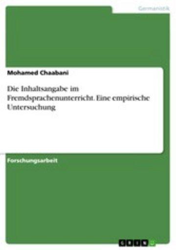 eBook Die Inhaltsangabe im Fremdsprachenunterricht. Eine empirische Untersuchung Cover