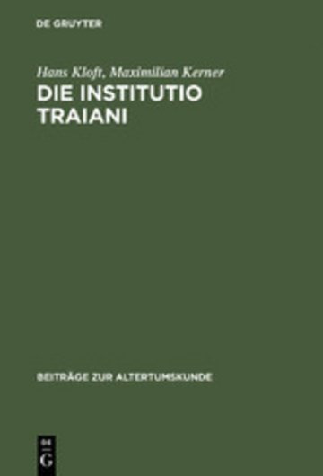 eBook Die Institutio Traiani Cover