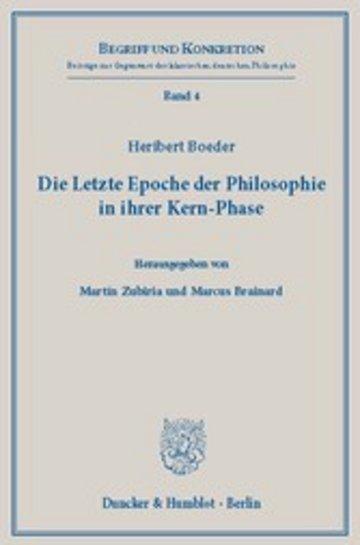 eBook Die Letzte Epoche der Philosophie in ihrer Kern-Phase. Cover
