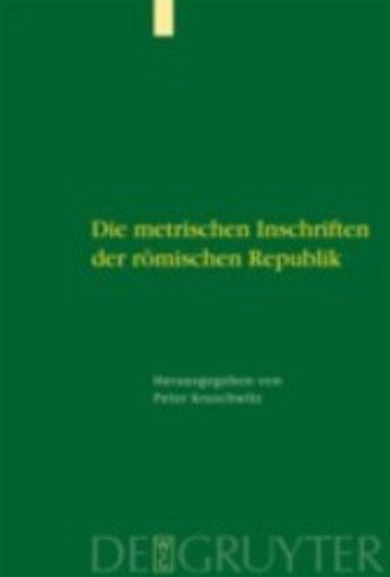 eBook Die metrischen Inschriften der römischen Republik Cover