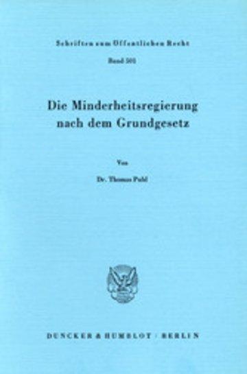 eBook Die Minderheitsregierung nach dem Grundgesetz. Cover