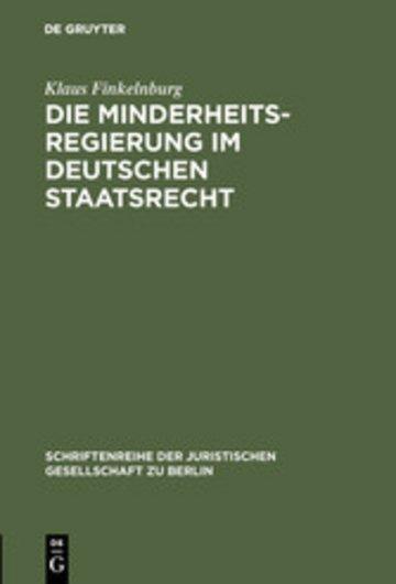 eBook Die Minderheitsregierung im deutschen Staatsrecht Cover