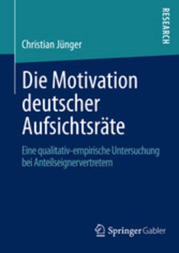 eBook Die Motivation deutscher Aufsichtsräte Cover