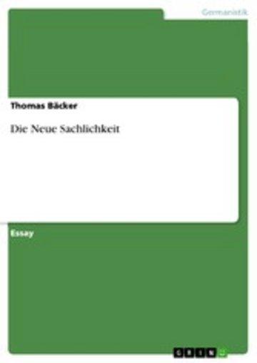 eBook Die Neue Sachlichkeit Cover