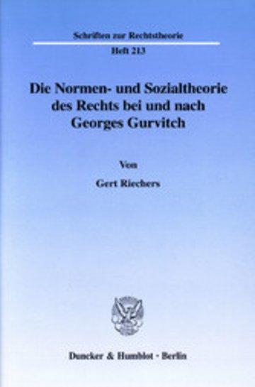 eBook Die Normen- und Sozialtheorie des Rechts bei und nach Georges Gurvitch. Cover