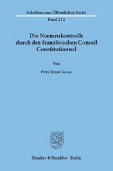 eBook Die Normenkontrolle durch den französischen Conseil Constitutionnel. Cover