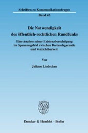 eBook Die Notwendigkeit des öffentlich-rechtlichen Rundfunks. Cover