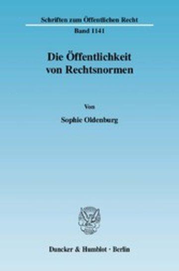 eBook Die Öffentlichkeit von Rechtsnormen. Cover