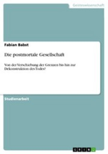 eBook Die postmortale Gesellschaft Cover