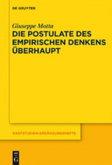 eBook Die Postulate des empirischen Denkens überhaupt Cover