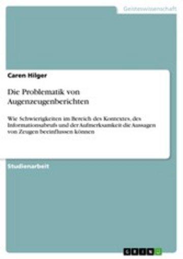 eBook Die Problematik von Augenzeugenberichten Cover