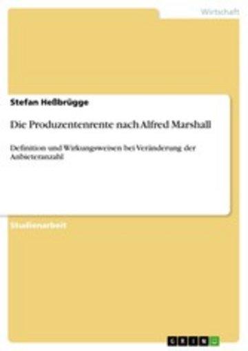 eBook Die Produzentenrente nach Alfred Marshall Cover